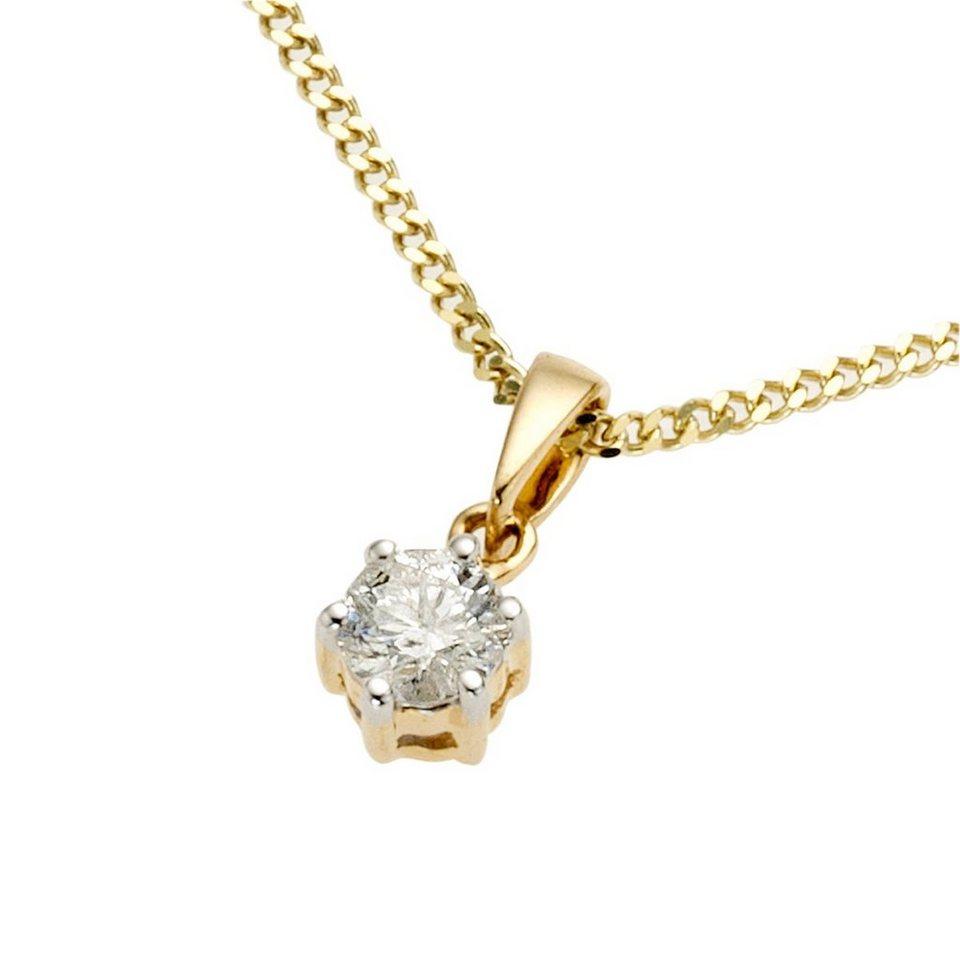 Diamonds by Ellen K. Anhänger mit Kette »585/- Gold Brillant 0,25ct.« in gelb