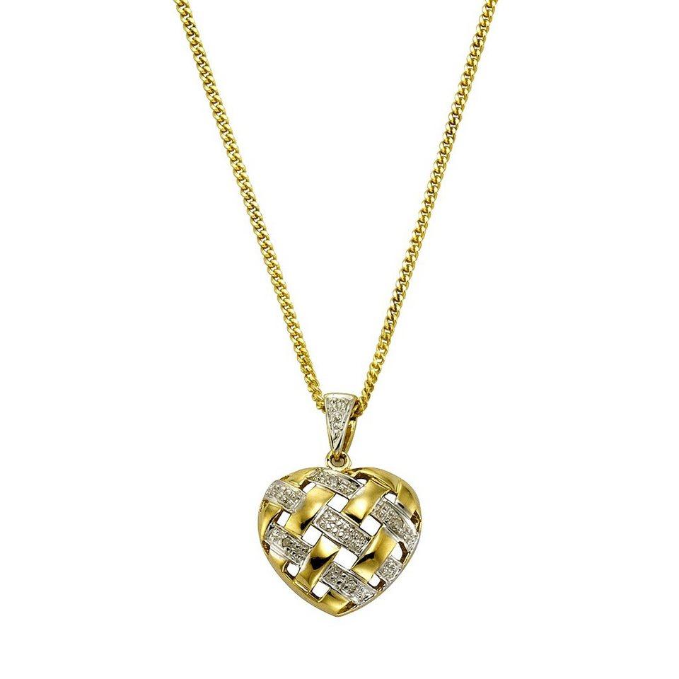 Diamonds by Ellen K. Anhänger mit Kette »333/- Gelbgold Diamant 0,02ct.« in gelb
