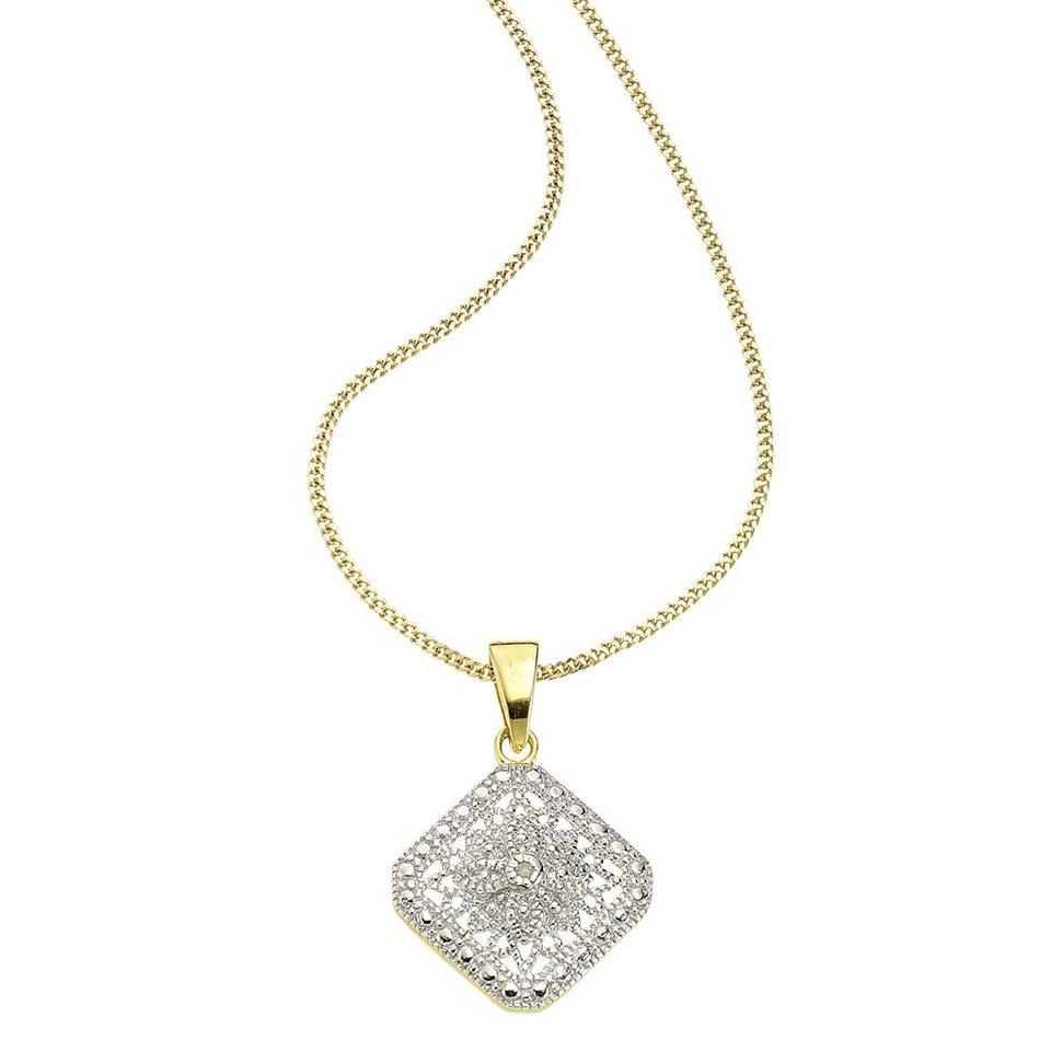 Diamonds by Ellen K. Anhänger mit Kette »925/- Sterling Silber Diamant 0,01ct.« in gelb