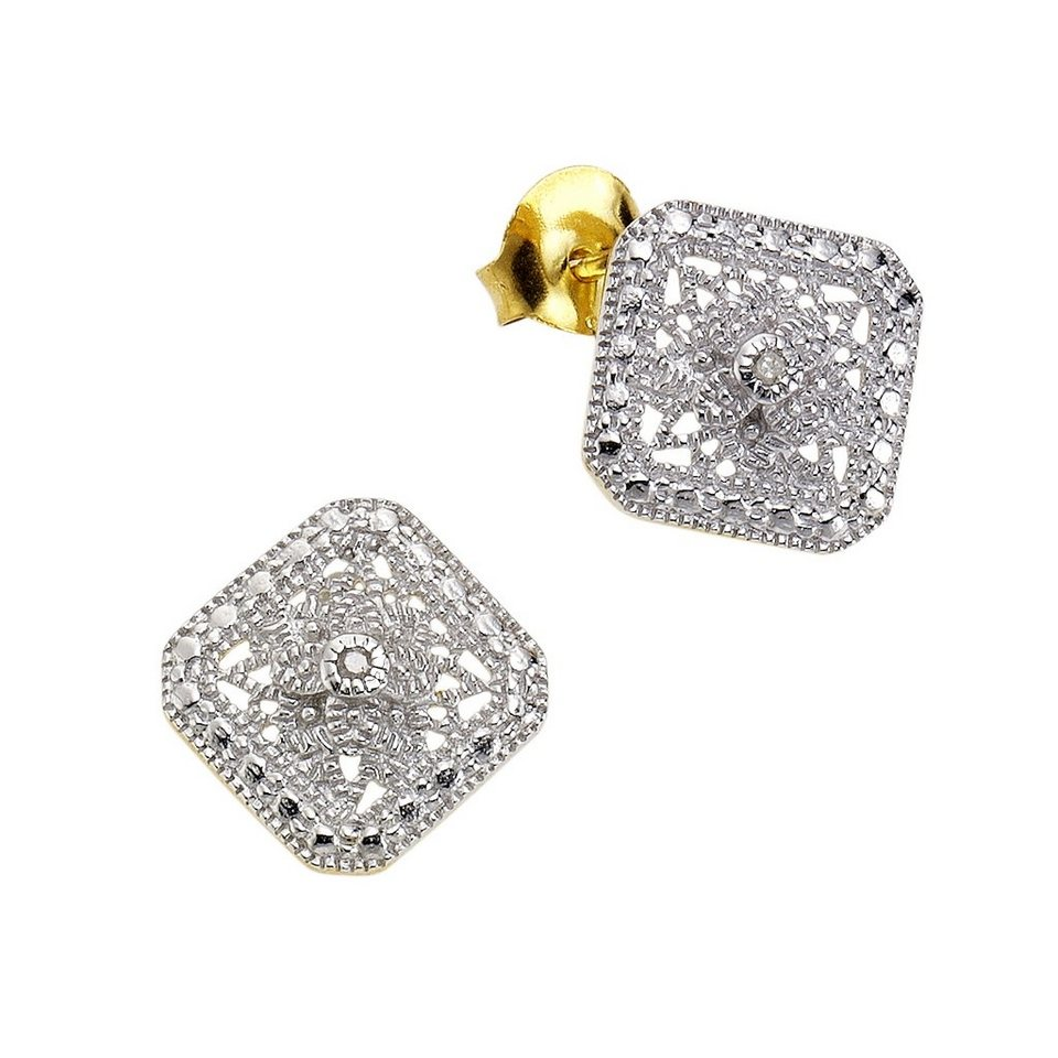 Diamonds by Ellen K. Ohrstecker »925/- Sterling Silber Diamant 0,021ct.« in gelb