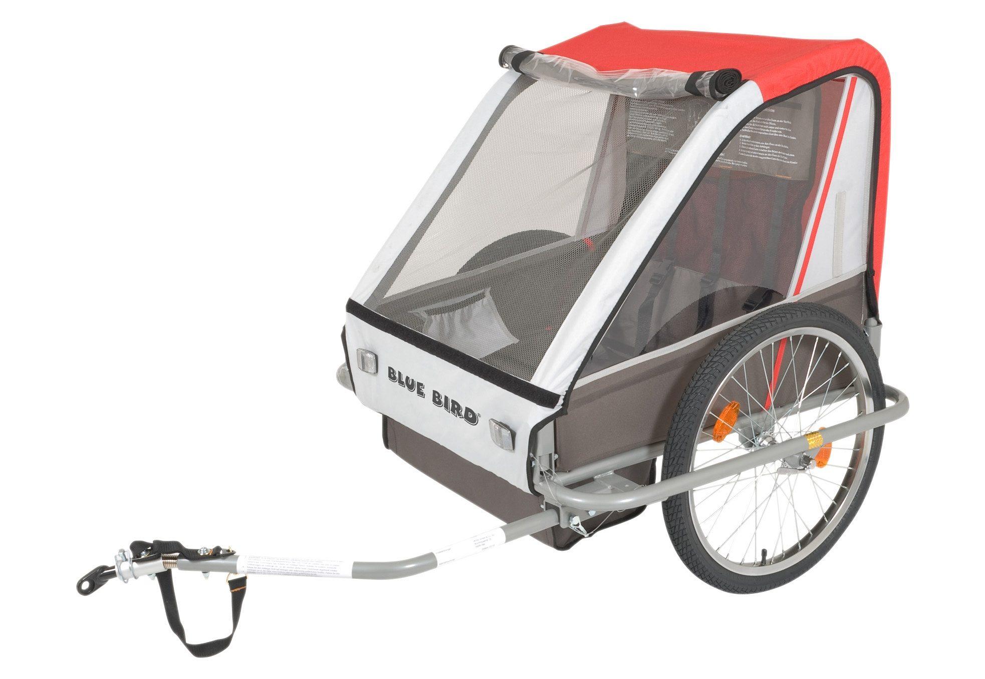 Blue Bird Fahrradanhänger, Kinderanhänger, grau-rot, »Zweisitzer Dual«