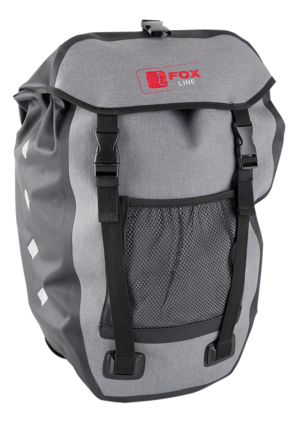 Fox Line Fahrradtasche für Gepäckträger, schwarz-grau