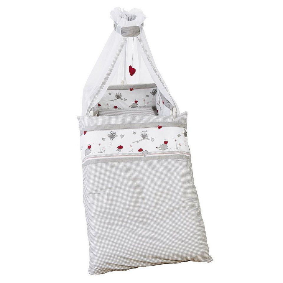 ROBA 4-tlg. Babybettausstattung Adam & Eule in weiß