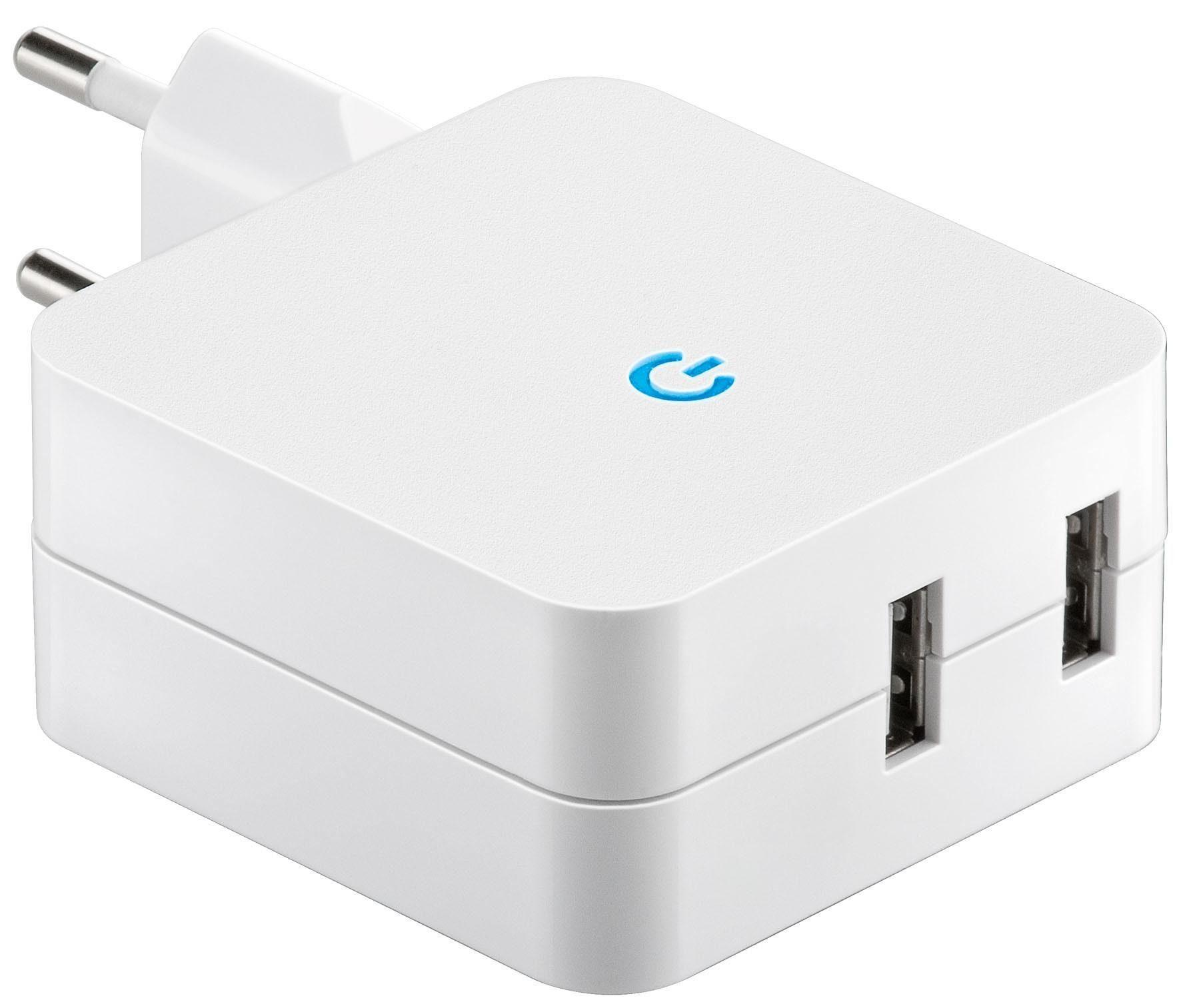 goobay USB Lade-Adapter 230V -> USB (4,2A) »Reiseladeadapter (weiß)«