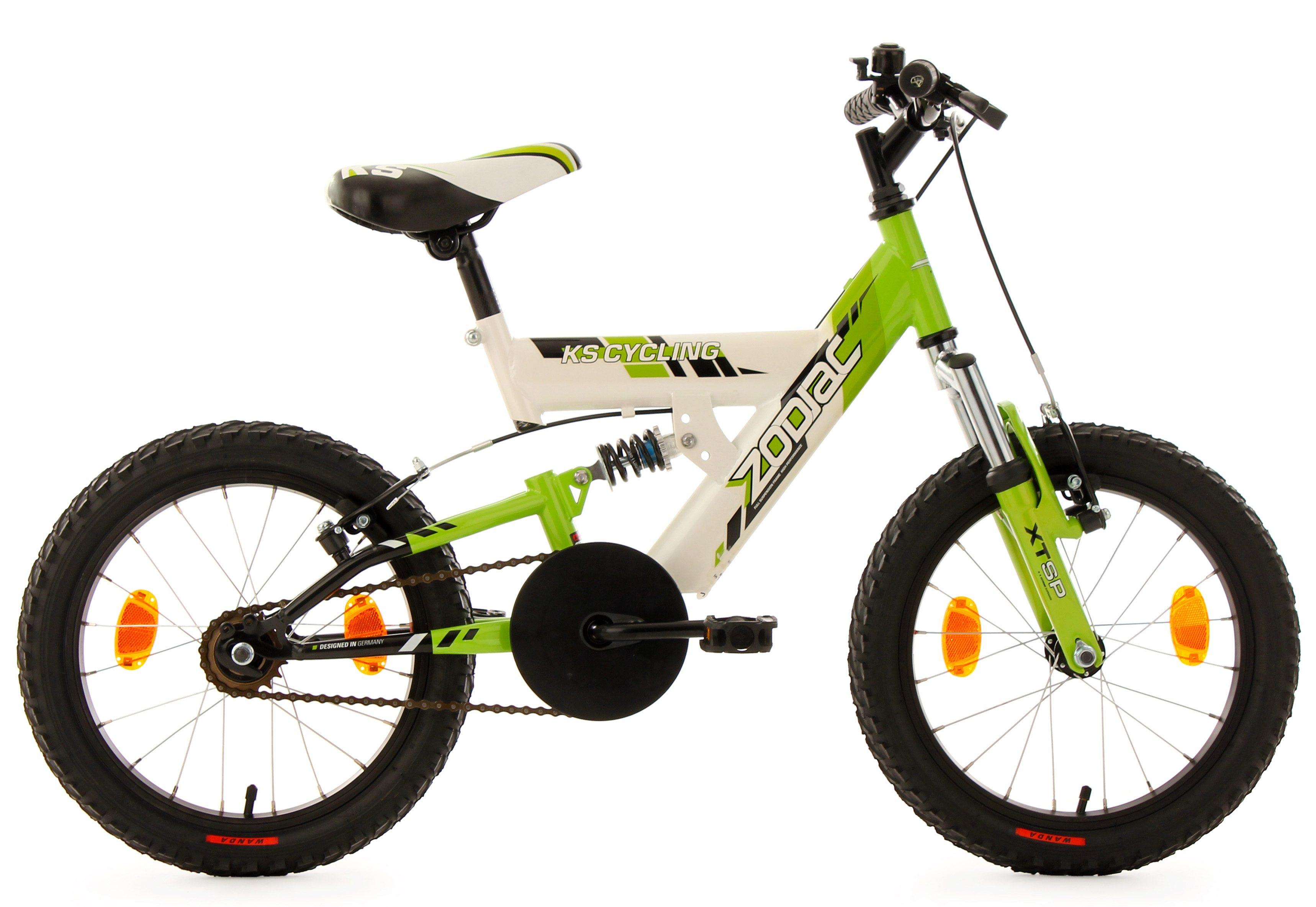 KS Cycling Kinderfahrrad, 16 Zoll, weiß-grün, »Zodiac«