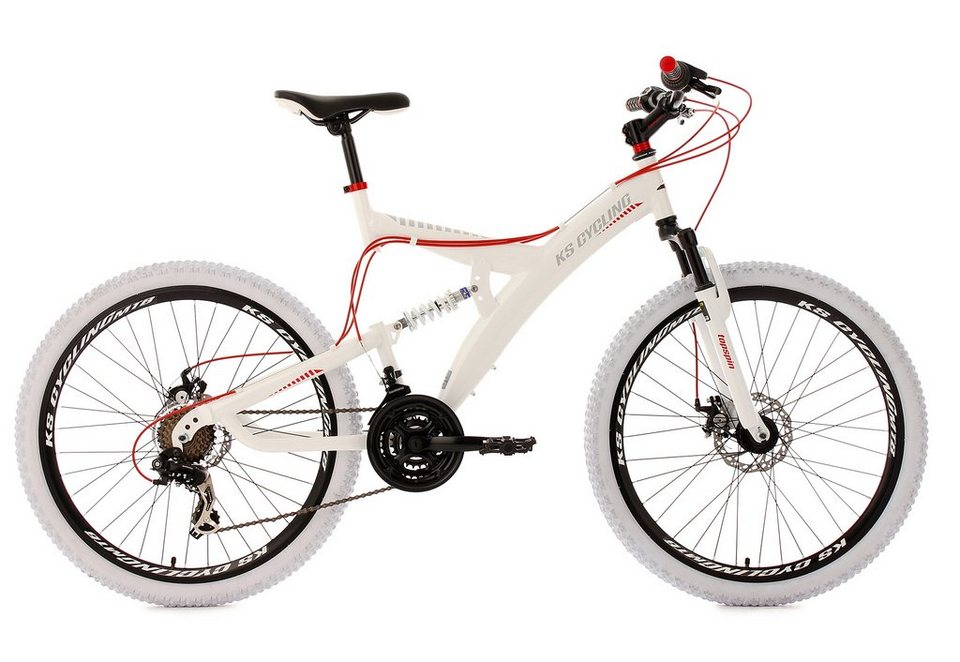 KS Cycling Fully-Mountainbike, 26 Zoll, weiß-rot, 21-Gang-Kettenschaltung, »Topspin« in weiß-rot