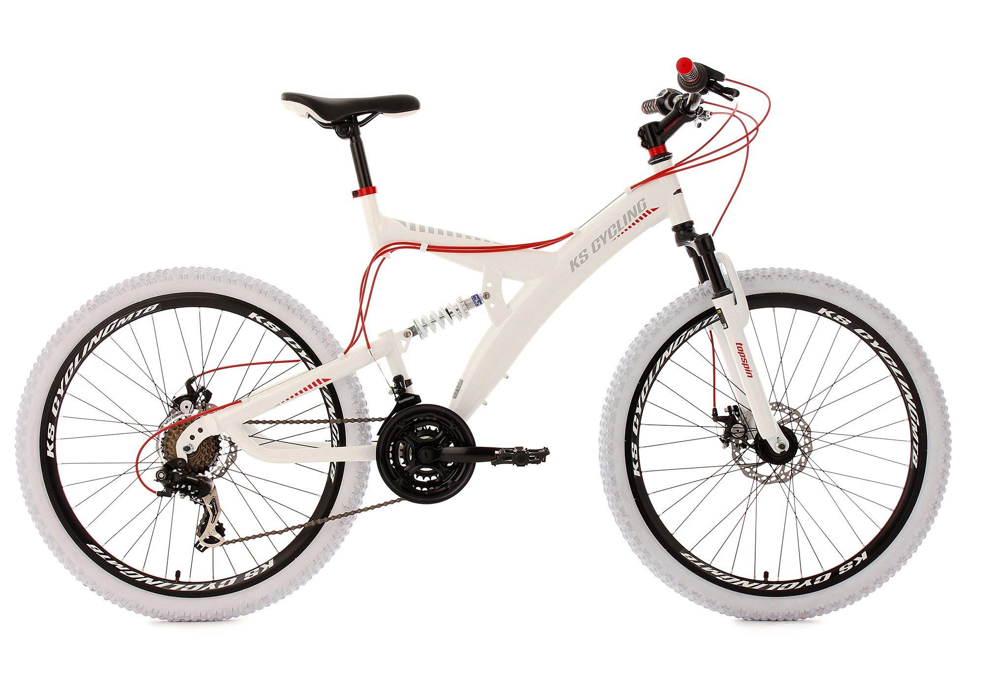 KS Cycling Fully-Mountainbike, 26 Zoll, weiß-rot, 21-Gang-Kettenschaltung, »Topspin«