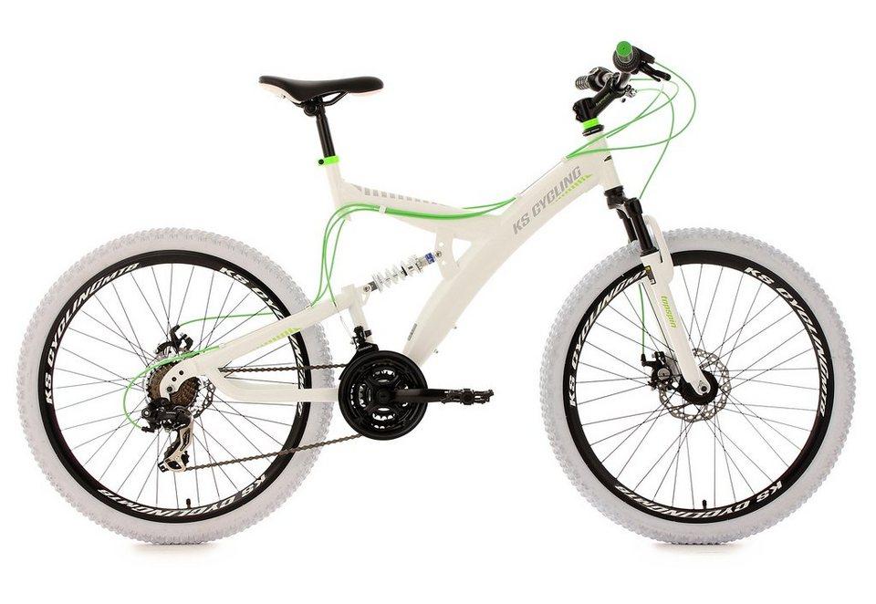 KS Cycling Fully-Mountainbike, 26 Zoll, weiß-grün, 21-Gang-Kettenschaltung, »Topspin« in weiß-grün