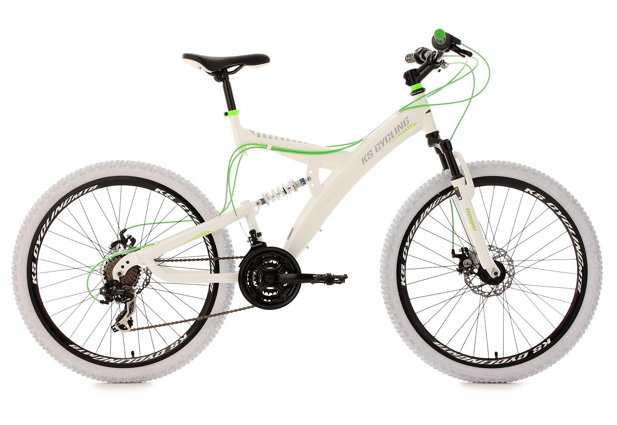 KS Cycling Fully-Mountainbike, 26 Zoll, weiß-grün, 21-Gang-Kettenschaltung, »Topspin«