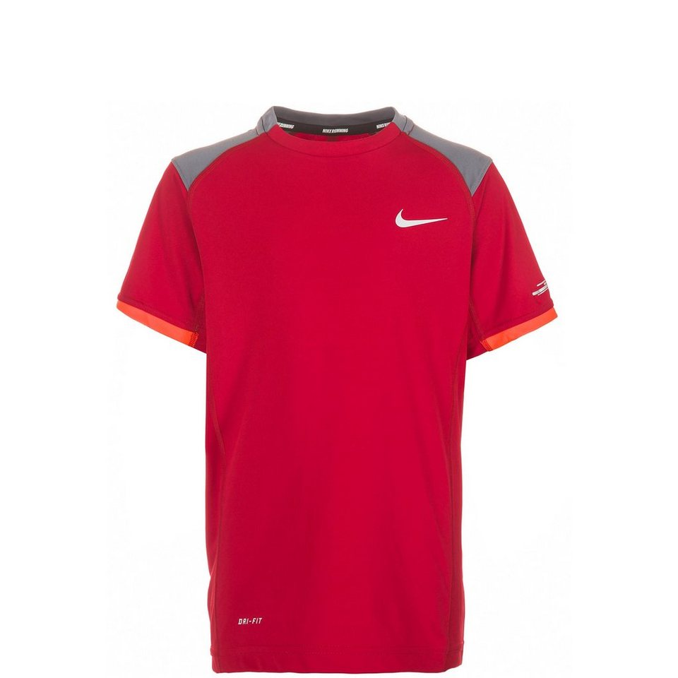 NIKE Miler Crew Laufshirt Kinder in rot / grau / orange