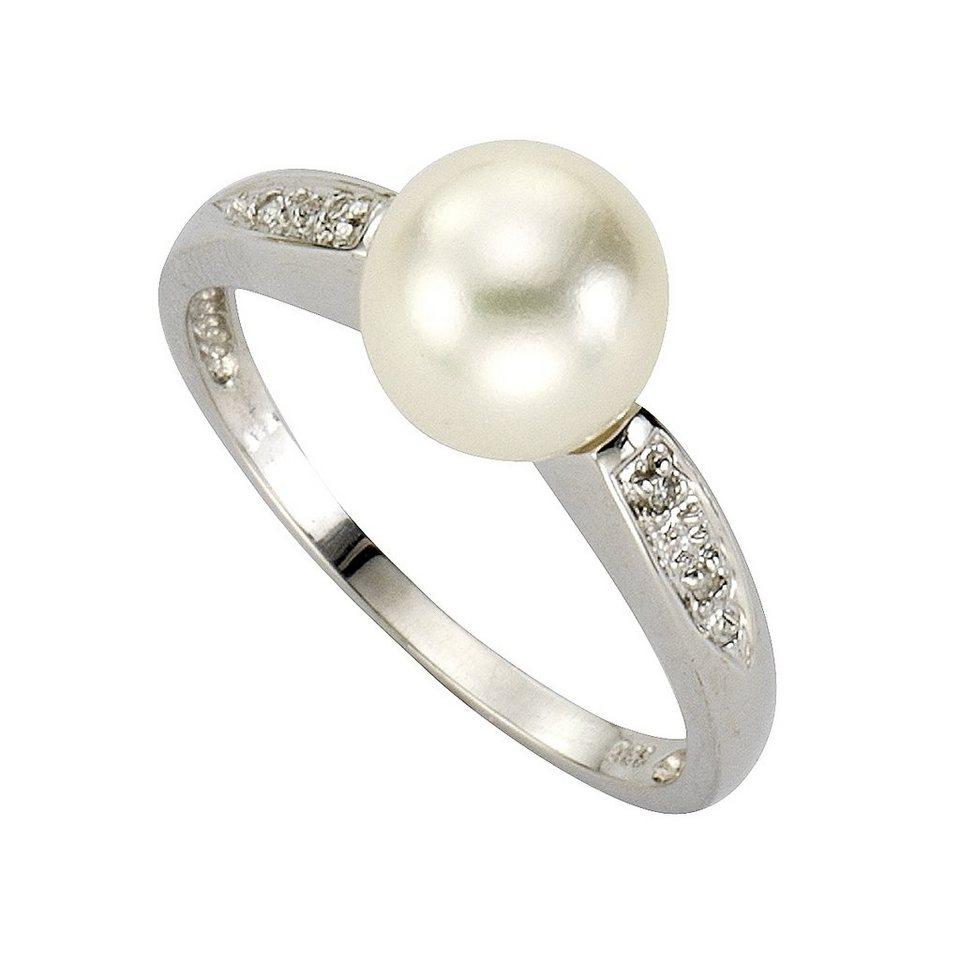 Diamonds by Ellen K. Ring »333/- Weißgold Perle und Diamant 0,02ct.« in weiß