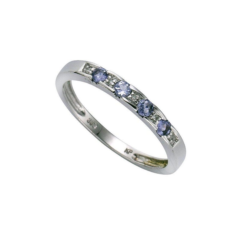 Diamonds by Ellen K. Ring »333/- Weißgold Tanzanit Diamant 0,025ct.« in weiß