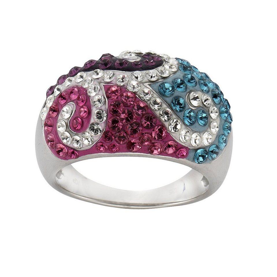 Crystelle Ring »925/- Sterling Silber Swarovski Kristalle« in mehrfarbig