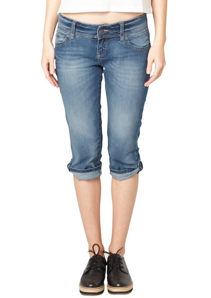 s.Oliver Denim Catie: Used-Jeans in Capri-Länge in blue denim stretch