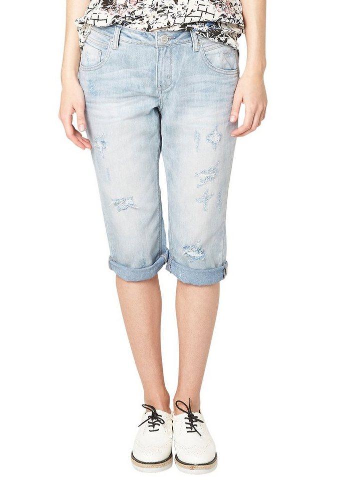 s.Oliver Denim Gwen: Used-Jeans in Capri-Länge in blue denim, heavy st