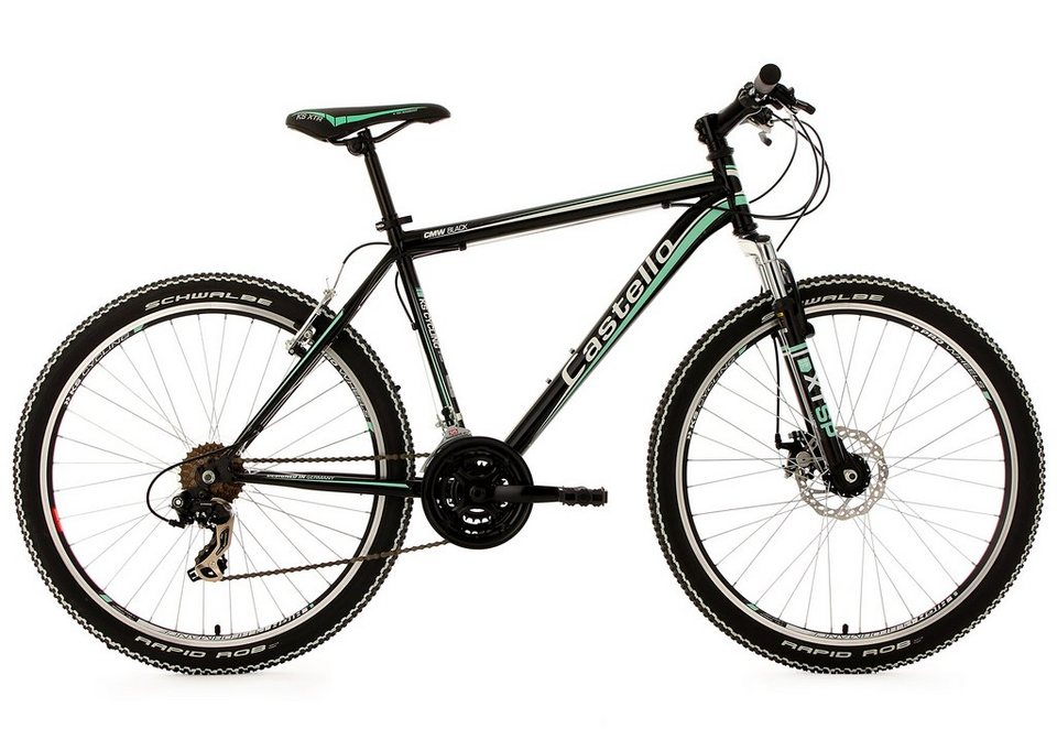 Hardtail Mountainbike, 26 Zoll, 21 Gang Shimano Kettenschaltung, »Castello CMW«, KS Cycling in schwarz-grün