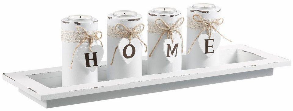 Home affaire Teelichthalter »Home« in weiß