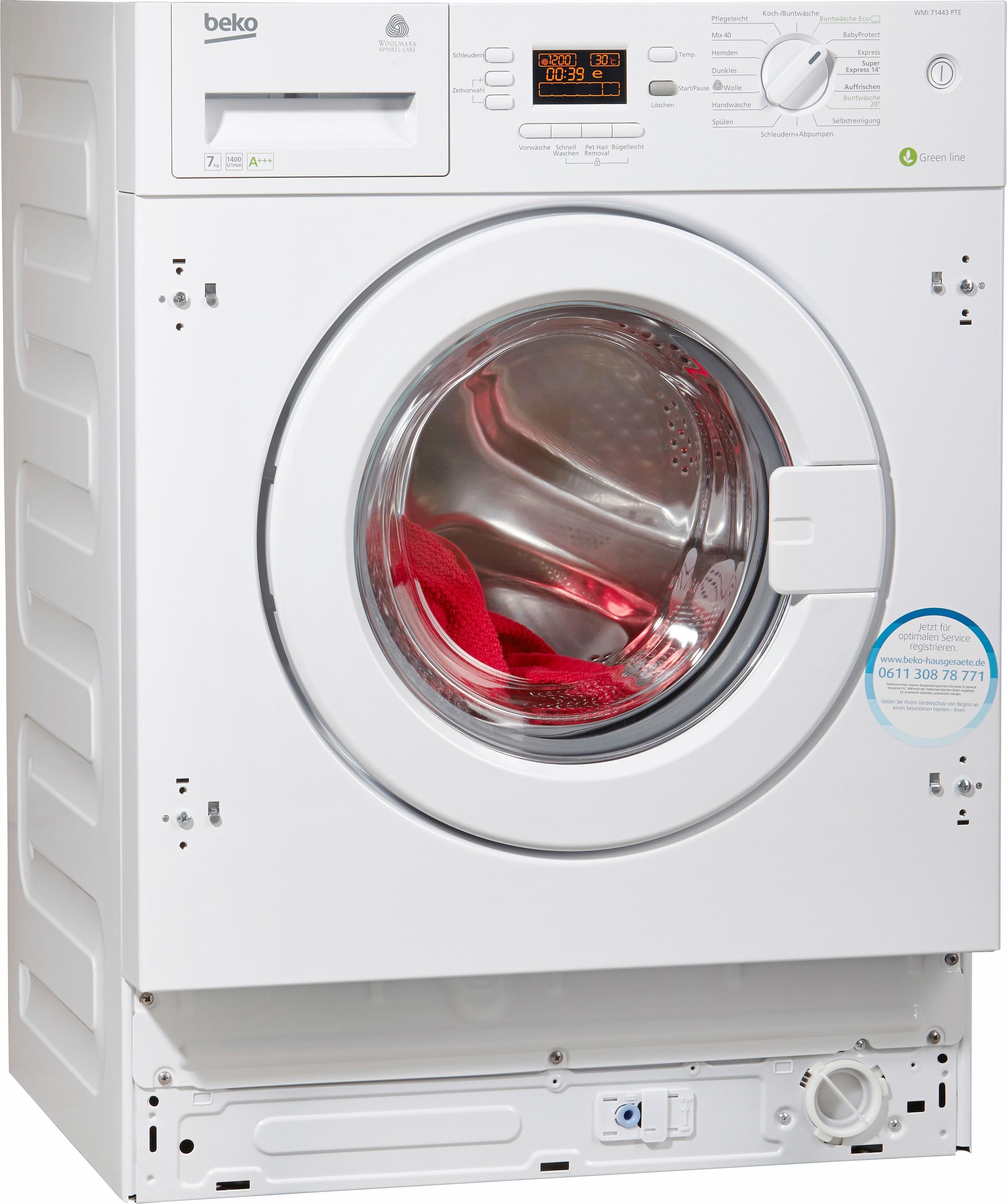 BEKO Einbau-Waschmaschine WMI 71443 PTE, A+++, 7 kg, 1400 U/Min