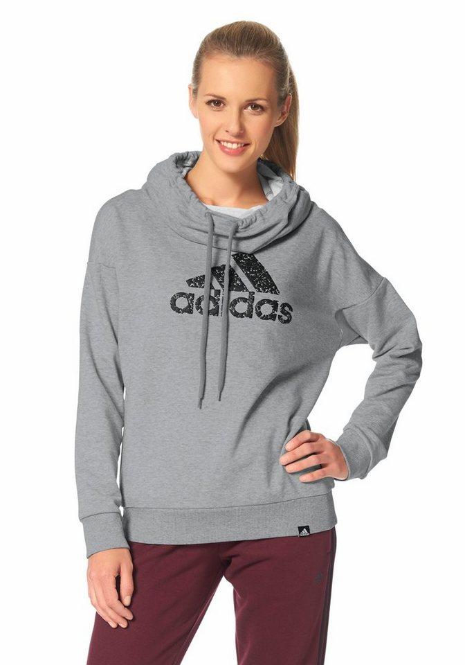 adidas Performance TOMBOY LOGO HOOD Kapuzensweatshirt in Grau-Meliert