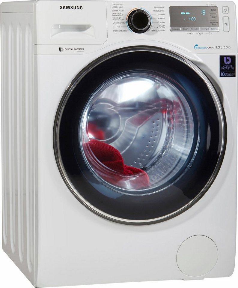 Samsung Waschtrockner WD90J7400GW/EG, A, 9 kg / 6 kg, 1.400 U/Min in weiß