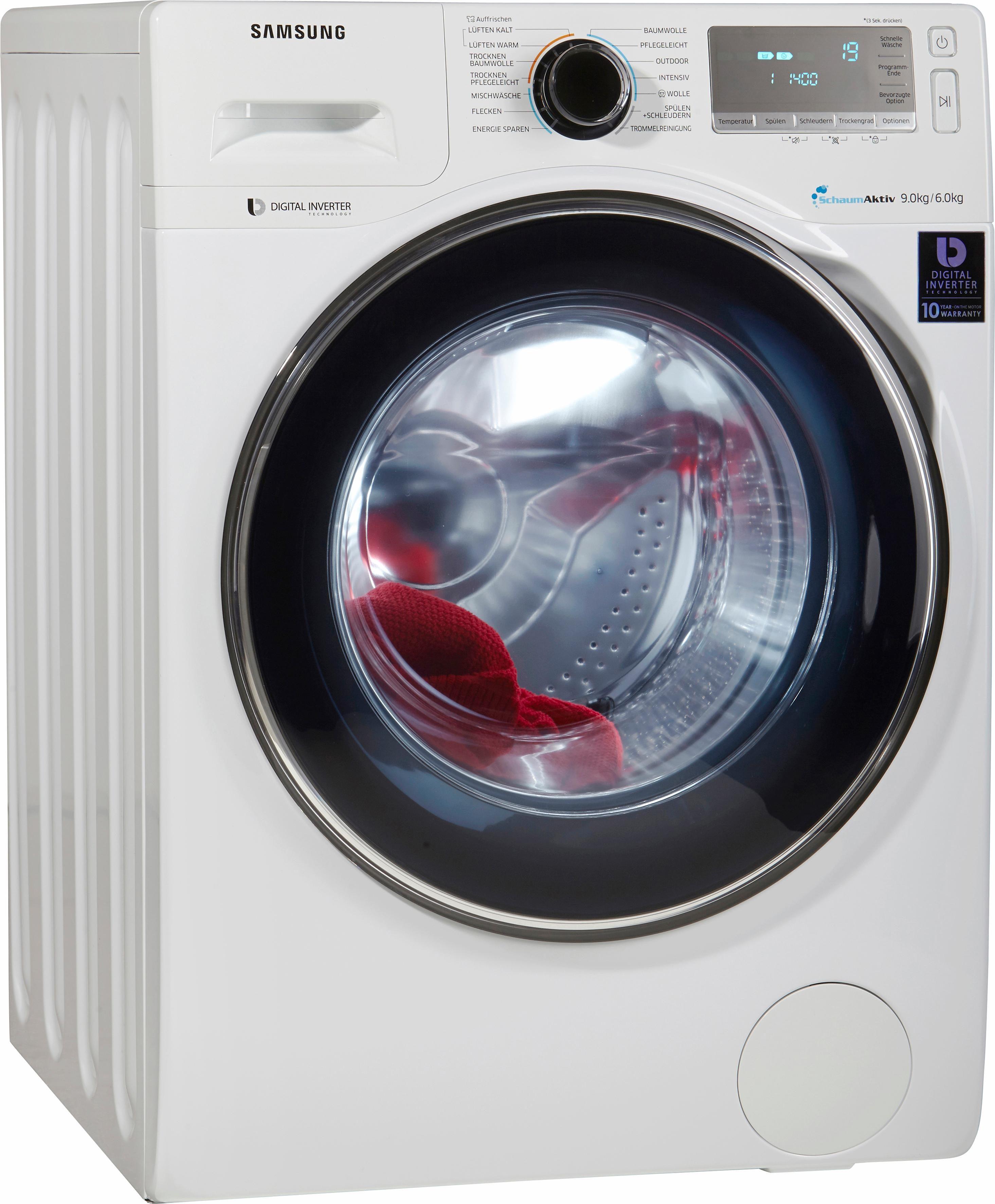 Samsung Waschtrockner WD90J7400GW/EG, A, 9 kg / 6 kg, 1.400 U/Min