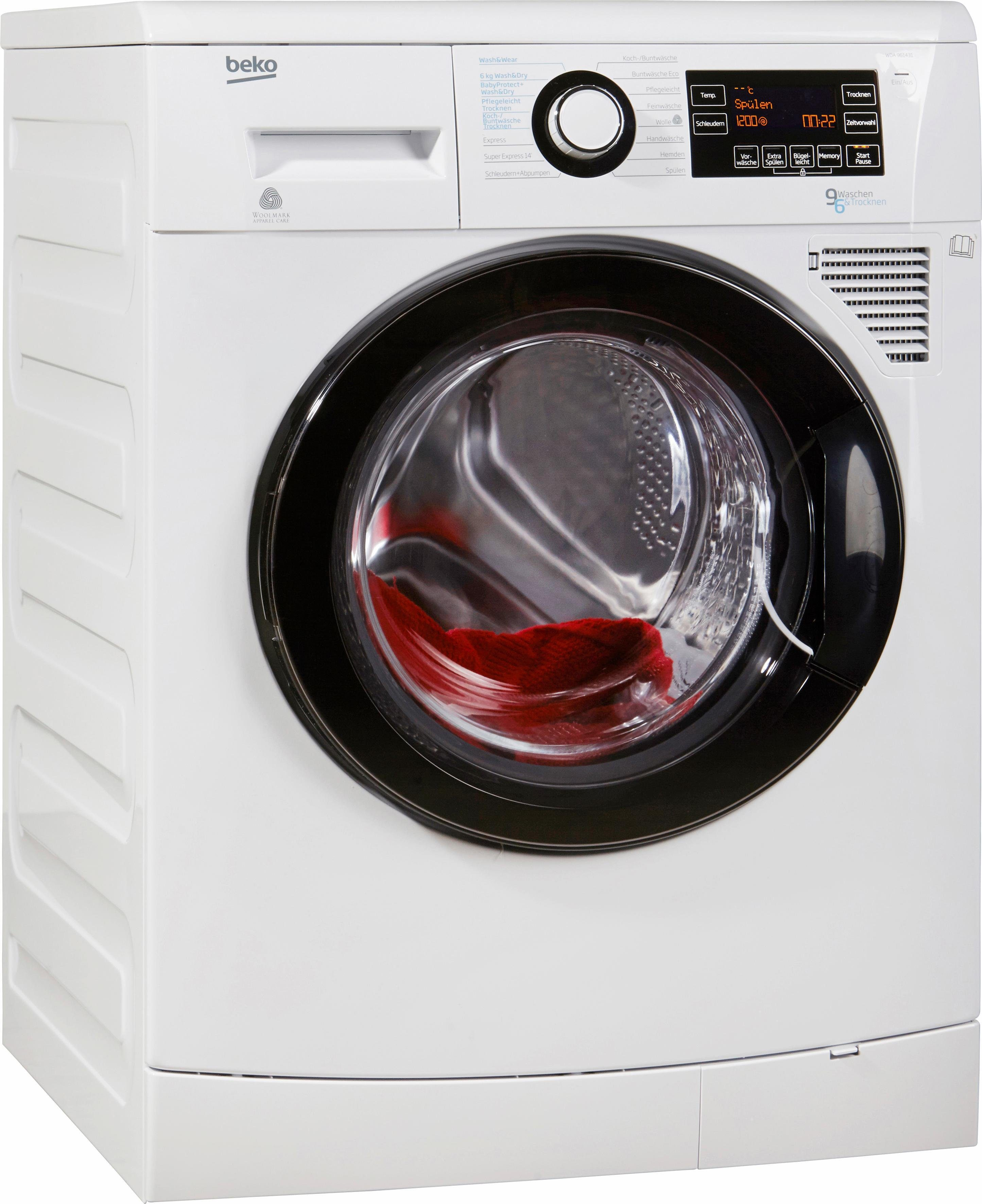BEKO Waschtrockner WDA 961431, A, 9 kg / 6 kg, 1.400 U/Min