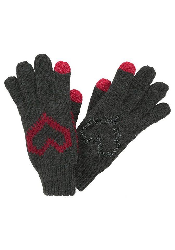 J. Jayz Strickhandschuhe mit Herz-Motiv in grau-rot