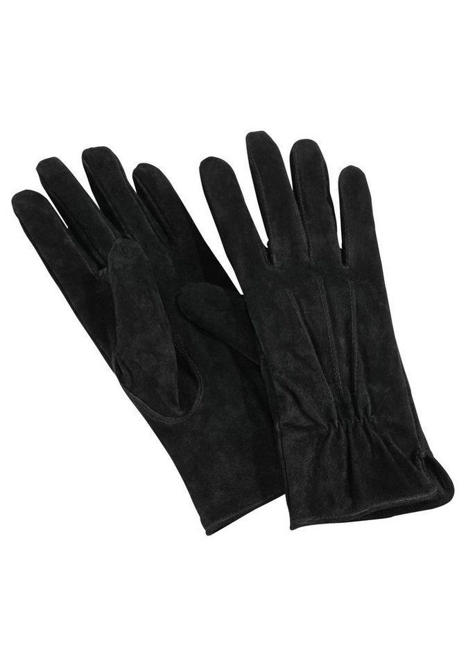 J. Jayz Lederhandschuhe mit Gummizug am Handgelenk in schwarz