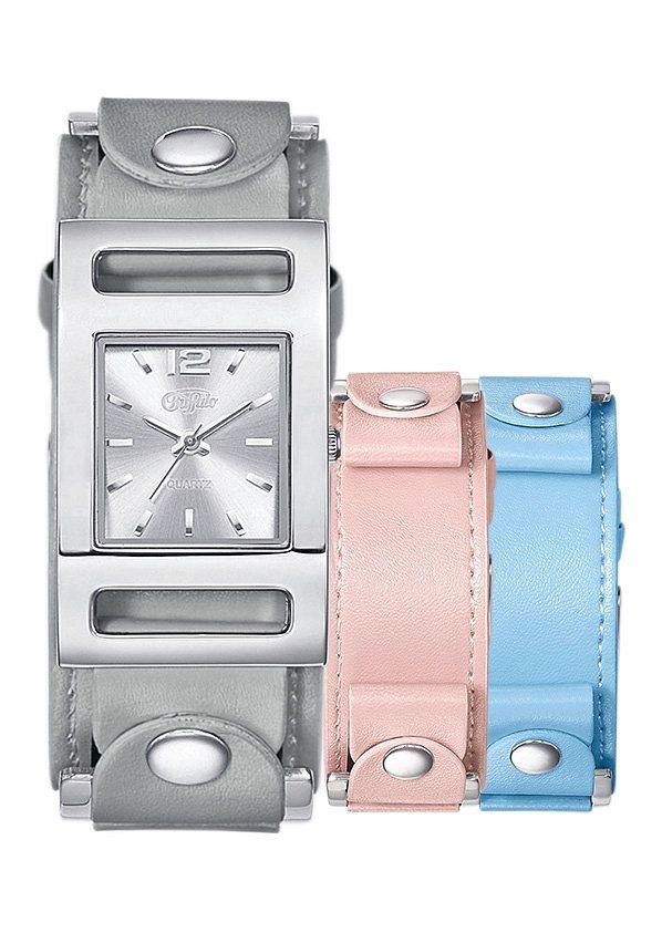 Buffalo Quarzuhr Mit 2 Wechselbändern (Set, 3 tlg.) in grau-rosé-hellblau