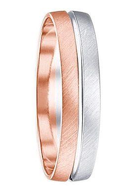 Firetti Trauring mit Gravur »quer gebürstet, Diamantschnitt, Bicolor, 5 mm breit«, Made in Germany, wahlweise mit oder ohne Brillant