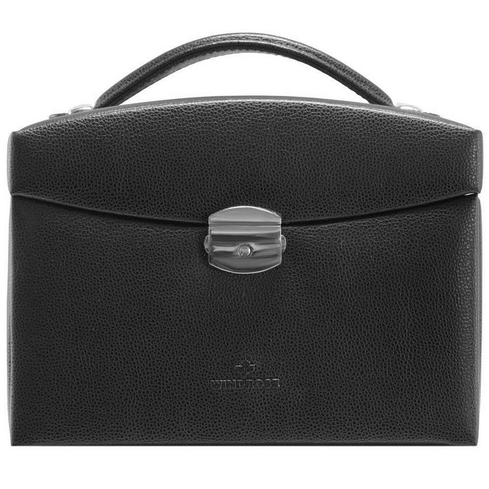 WINDROSE Beluga Schmuckkoffer 21,5 cm Leder in schwarz