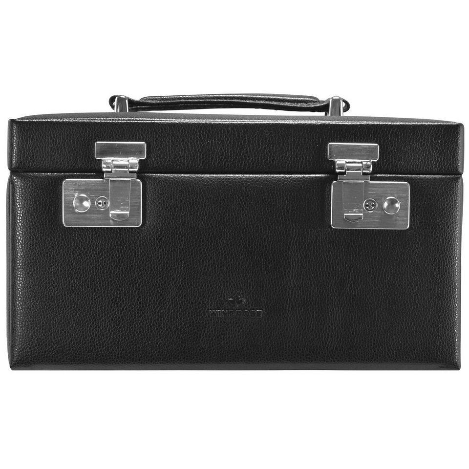 WINDROSE Beluga Uhrenbox 26 cm Leder in schwarz