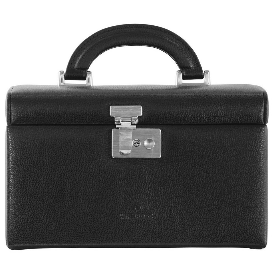 WINDROSE Beluga Schmuckkoffer 24,5 cm Leder in schwarz