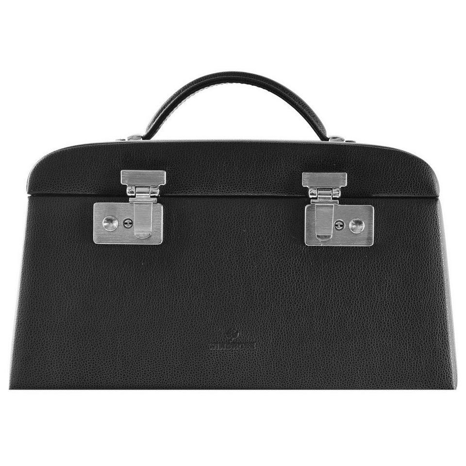 WINDROSE Beluga Schmuckkoffer 29,5 cm Leder in schwarz