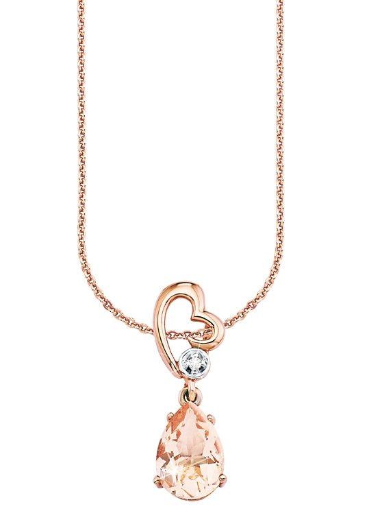 Amor Halskette, »Herz mit Tropfen, 496704« in Silber 925/teilw. roségoldfb. vergoldet