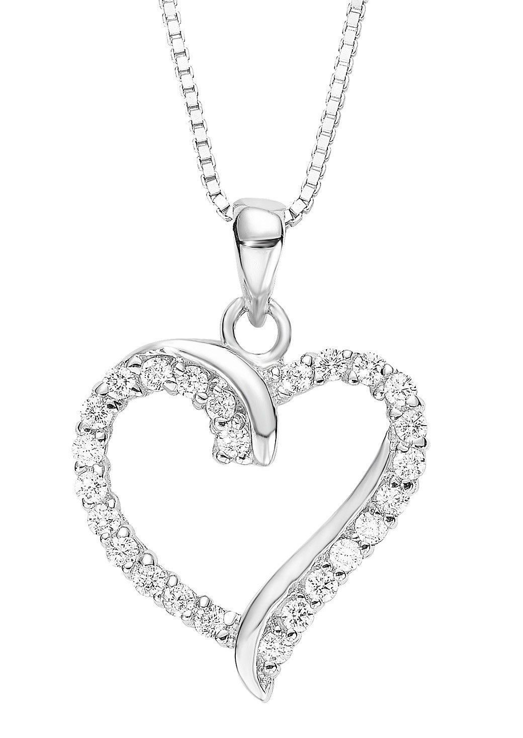 Amor Kette mit Anhänger »Herz, 9194568« mit Zirkonia | Schmuck > Halsketten > Herzketten | Silber | Amor