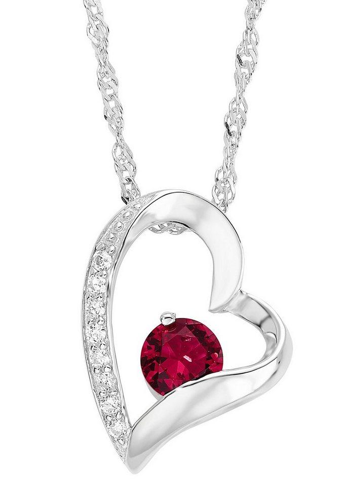 Amor Halskette, »mit Herzanhänger, 497046« in Silber 925/rot