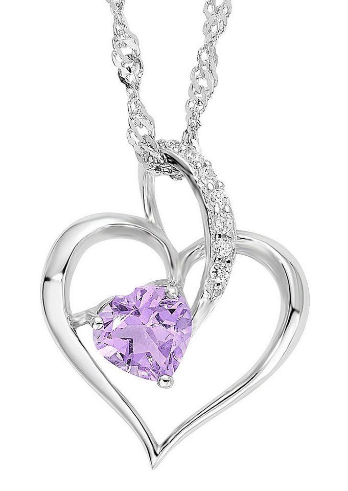 Amor Halskette, »mit Herzanhänger, 49702« in Silber 925/lila