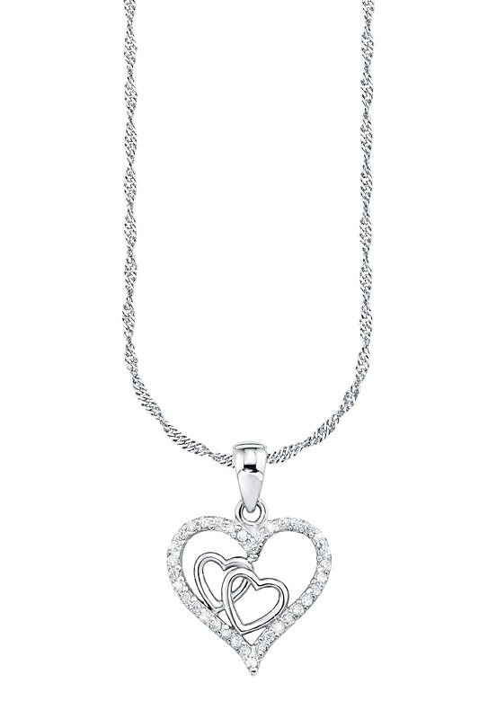 Amor Kette mit Anhänger »Herz, E52/2 492393« mit Zirkonia in Silber 925