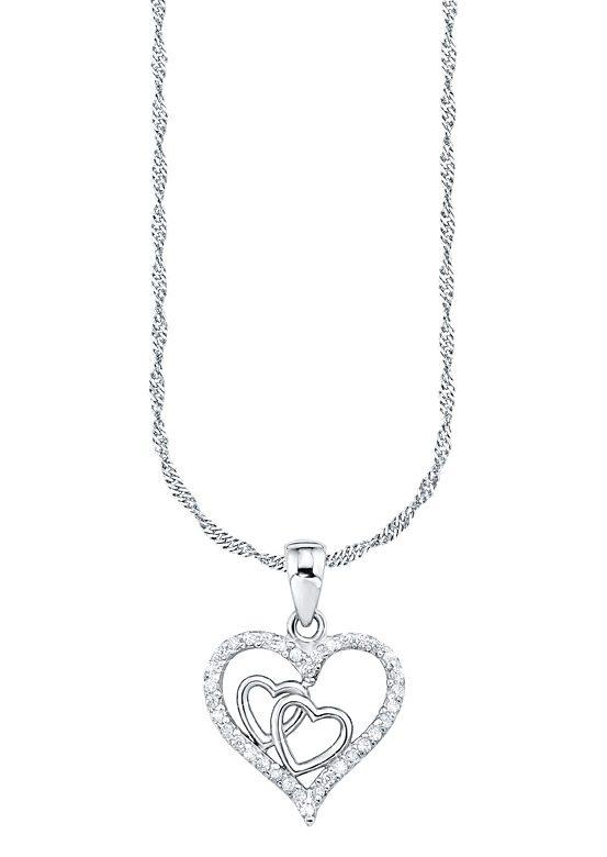 Amor Kette mit Anhänger »Herz«, mit Zirkonia