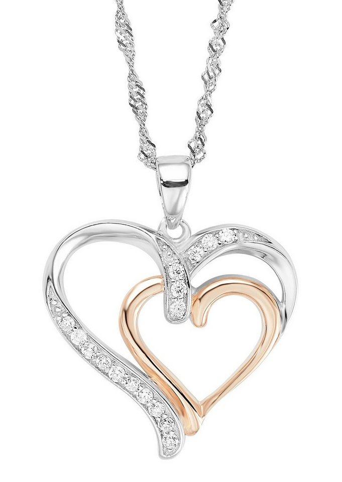 Amor Halskette, »mit Herzanhänger, 512404« in Silber 925/teilw. roségoldfb. vergoldet