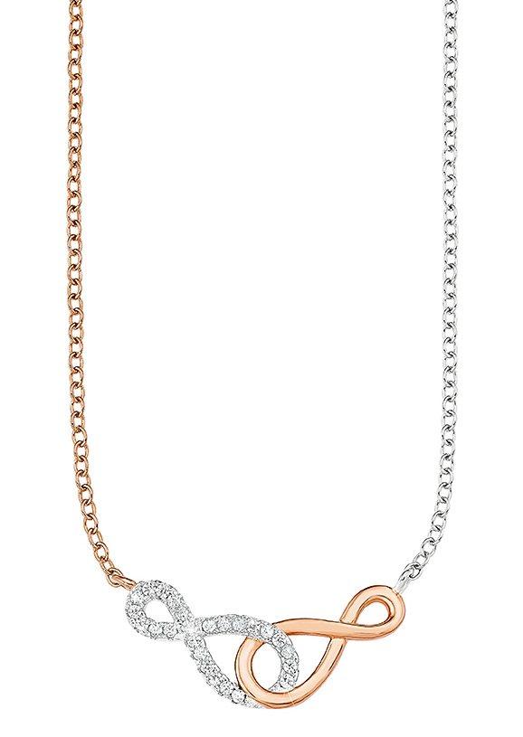 Amor Halskette, »Unendlichkeit, 510110« in Silber 925/teilw. roségoldfarben vergoldet