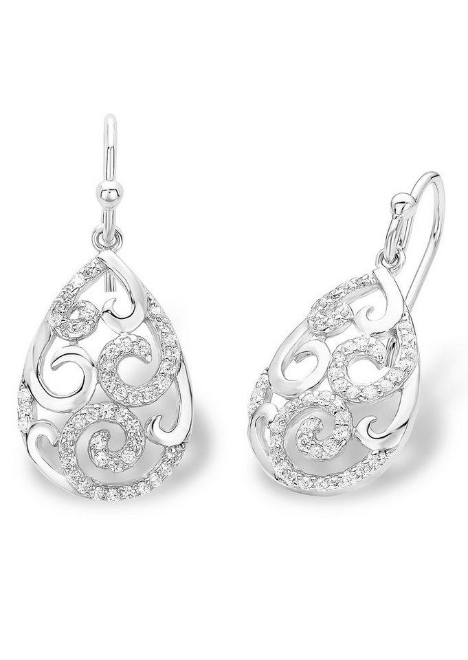Amor Paar Ohrhaken, »Tropfen, 514576« in Silber 925