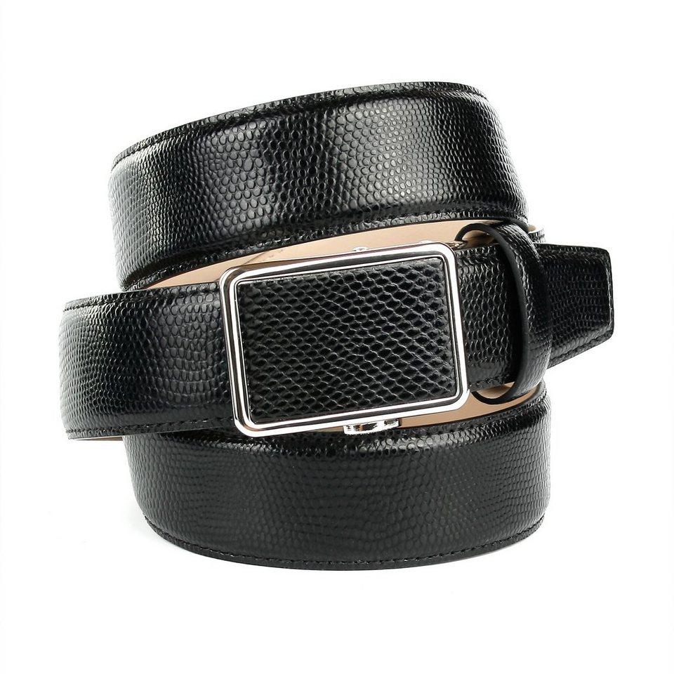 Anthoni Crown Ledergürtel mit Waran-Prägung in Schwarz
