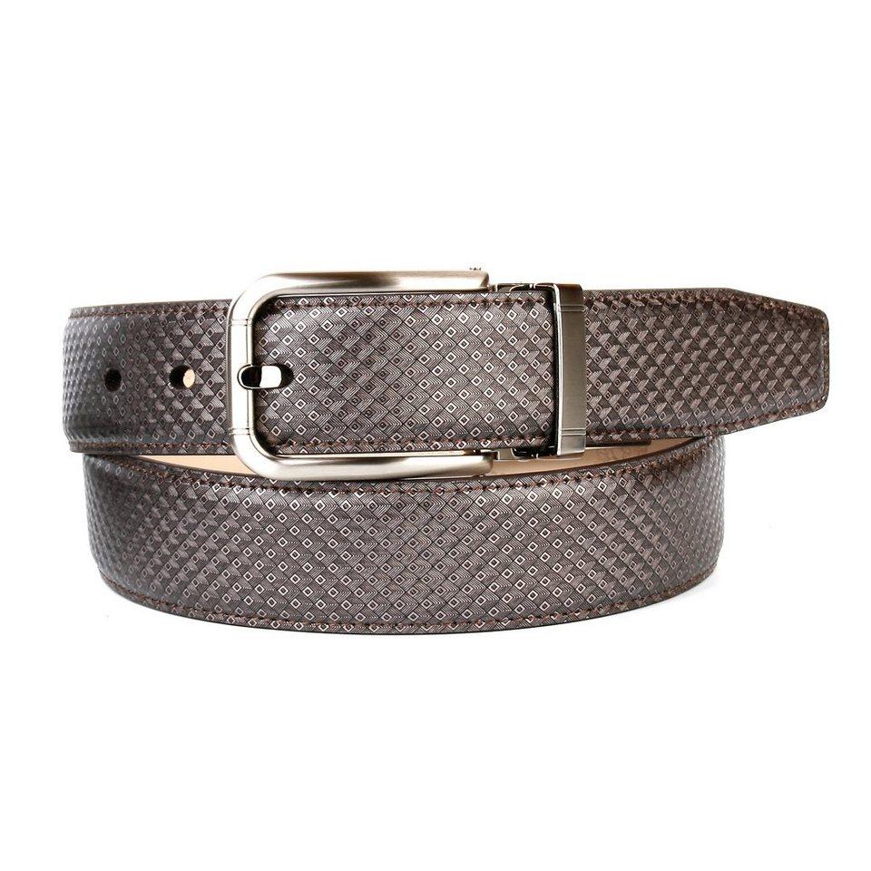 Anthoni Crown Ledergürtel im klassischen Design in Grau