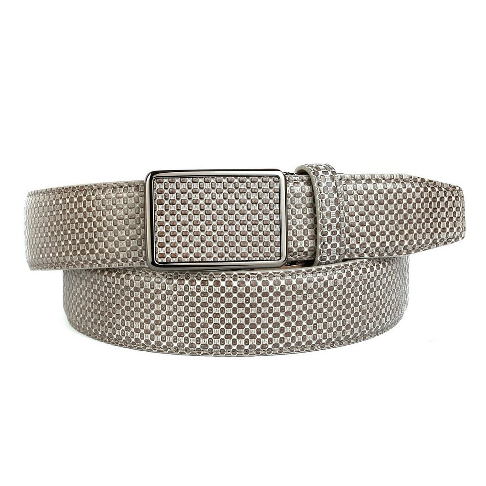 Anthoni Crown Ledergürtel mit Kreuzmuster in Grau