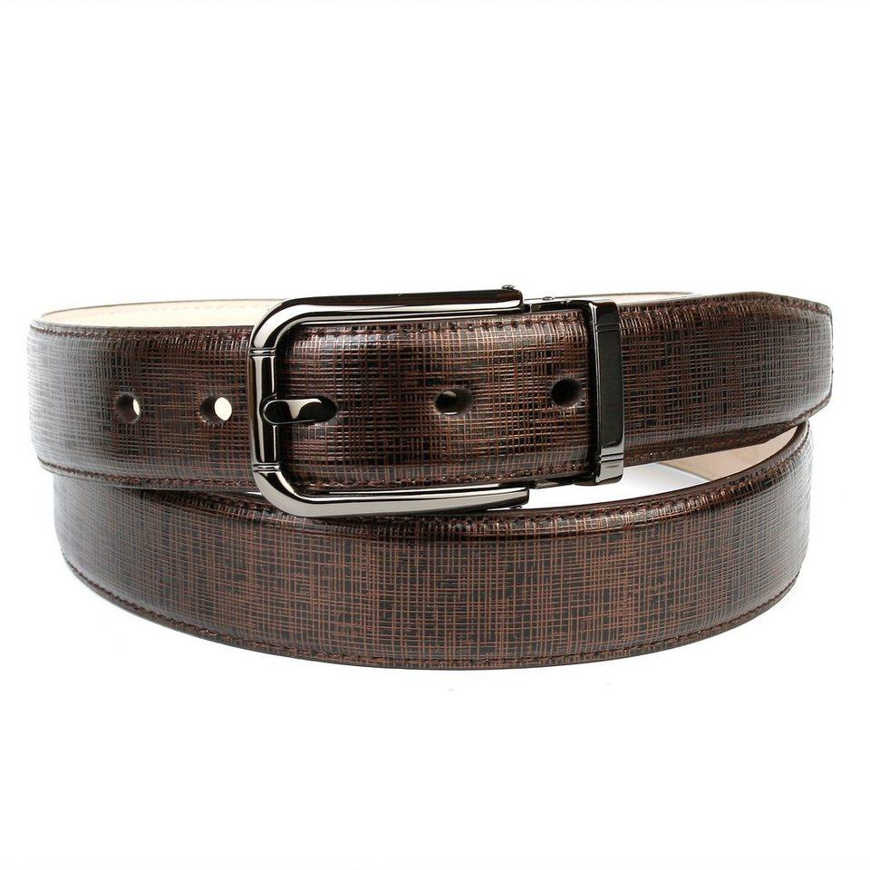Anthoni Crown leicht glänzender Ledergürtel in klassischem Design in Braun