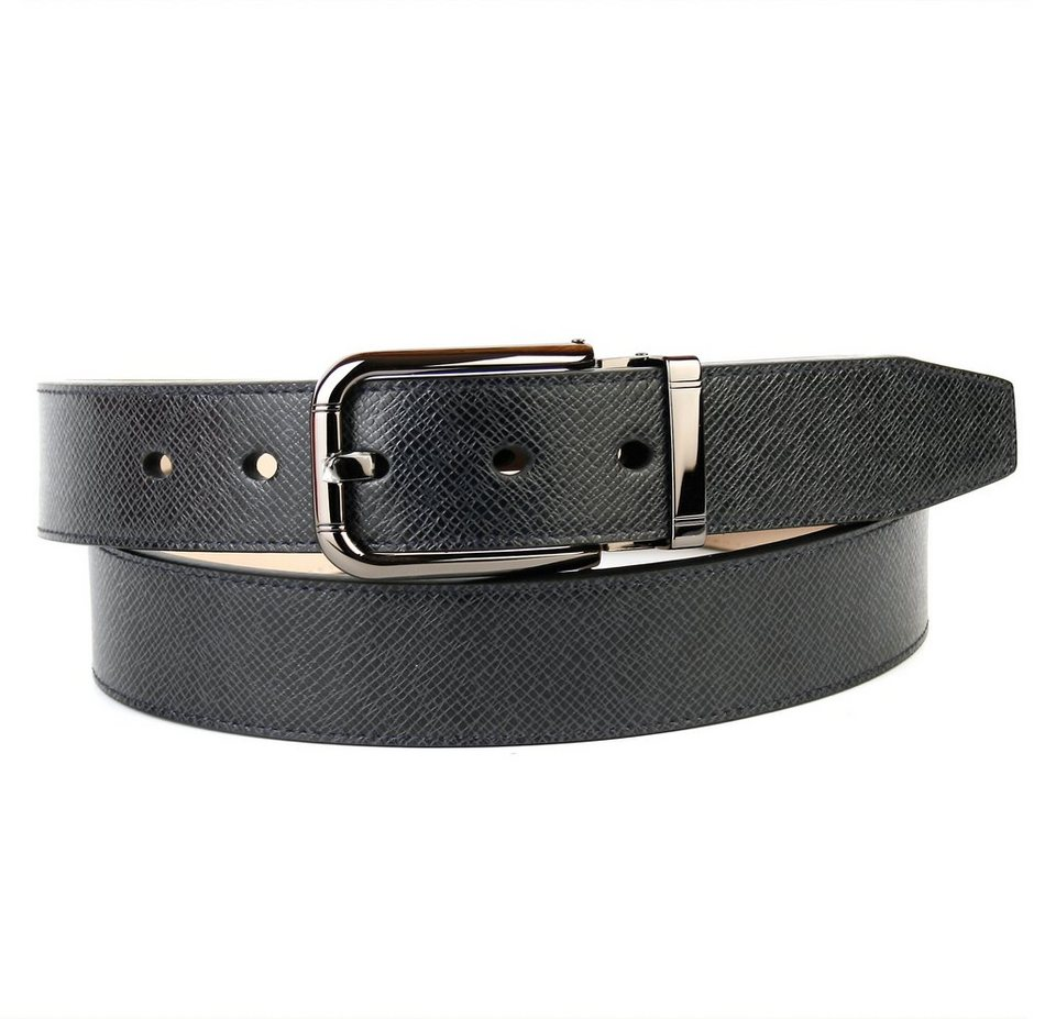 Anthoni Crown Klassischer Ledergürtel leicht gemustert in Schwarz