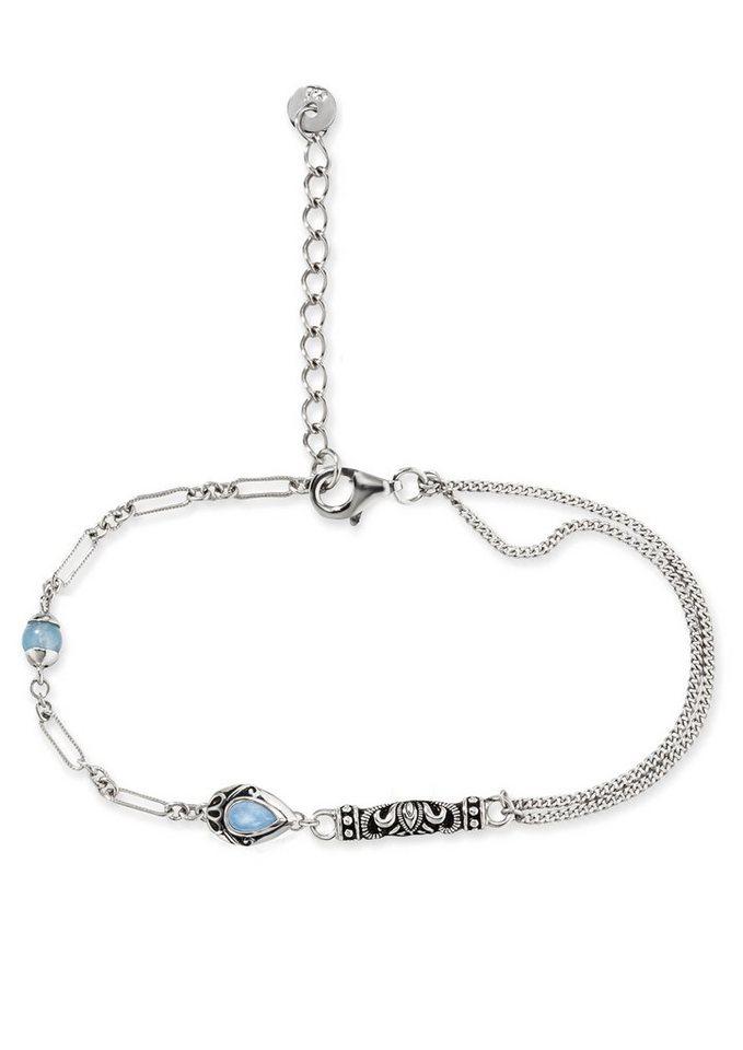 caï Women Silberarmband, »India Ethno, C1636B/90/I2/17+3« in Silber 925/blau