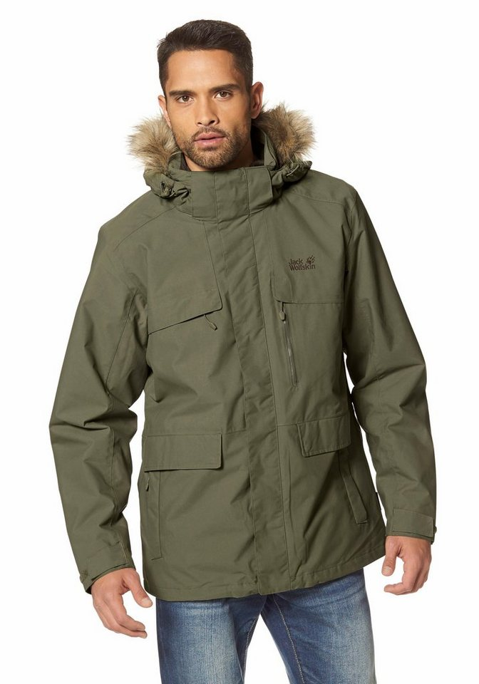 Jack Wolfskin YAKIMA PARKA MEN 3-in-1-Funktionsjacke in Khaki